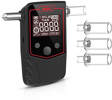 Drivaid Alcohol Tester Etilometro a semiconduttore Ricaricabile Alco Display LED Digitale e Suono di Allarme,Un analizzatore di Alcool Digitale Portatile con 12 boccagli