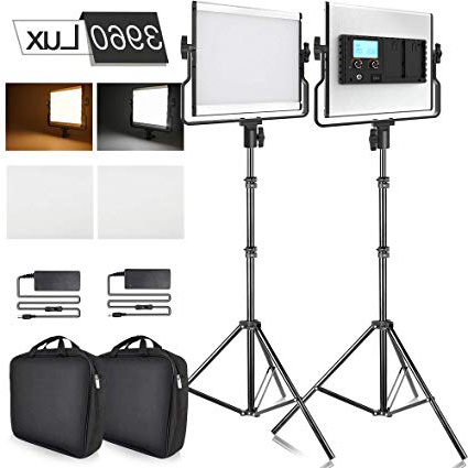 SAMTIAN Luce Video 2 Packs Bi-Colore Pannello LED Faretto Fotografia Kit di Illuminazione regolabile con Display LCD, U Staffa, supporto da 79 pollici, CRI 96+ per Youtube Video Ripresa Professionale