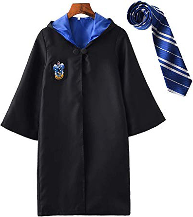 YONIER Costume per Adulti per Bambini Costume di Harry Potter Mantello Articoli per Set di cinematografici Bacchetta Magica Cravatta Sciarpa Occhiali Carnevale Fancy Dress Halloween Nero Big Size